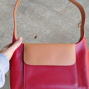Tusk leather shoulder bag, red and tan, new
